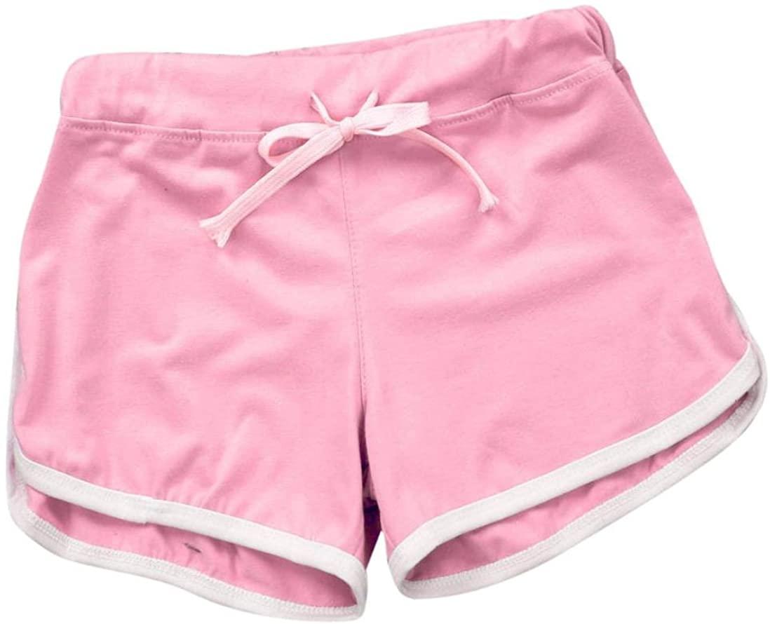 Fabal Yoga Drawstring Shorts Women Casual Loose Cotton Contrast Binding Side Split Elastic Waist Short Femme