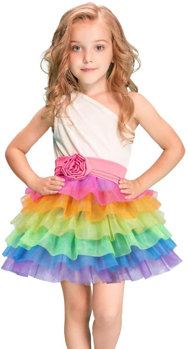 Fulu Bro Girls Rainbow Tulle Skirts Tutus Unicorn Skirt for Ballet Dancing Parties Dress Up Costumes Baby Shower
