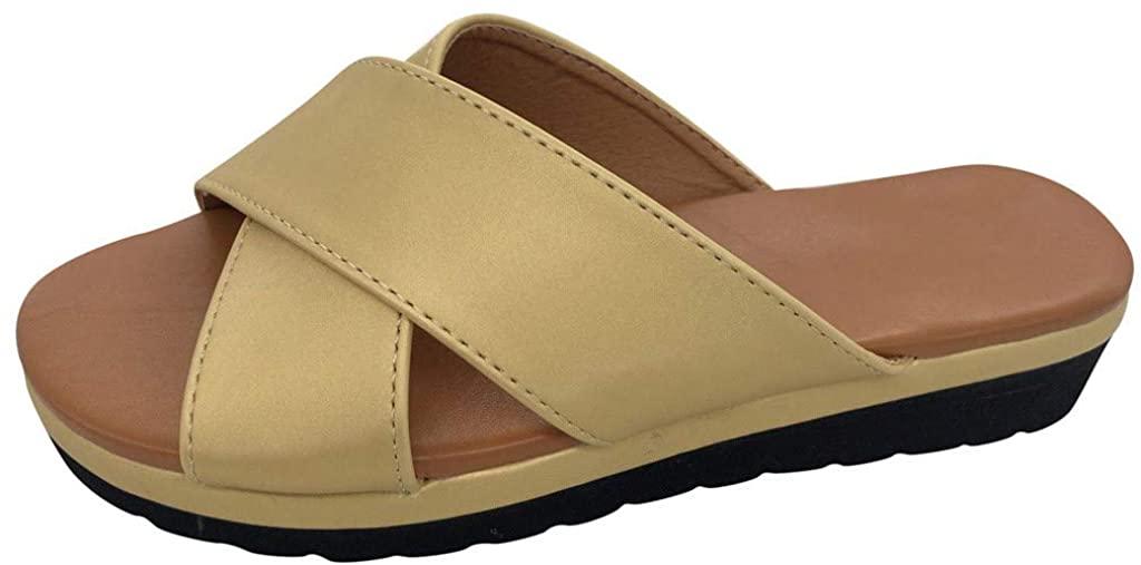 Flats Wedges Comfy Platform Sandal Shoes,Summer Open Toe Ankle Casual Shoes Roman Slippers Sandals