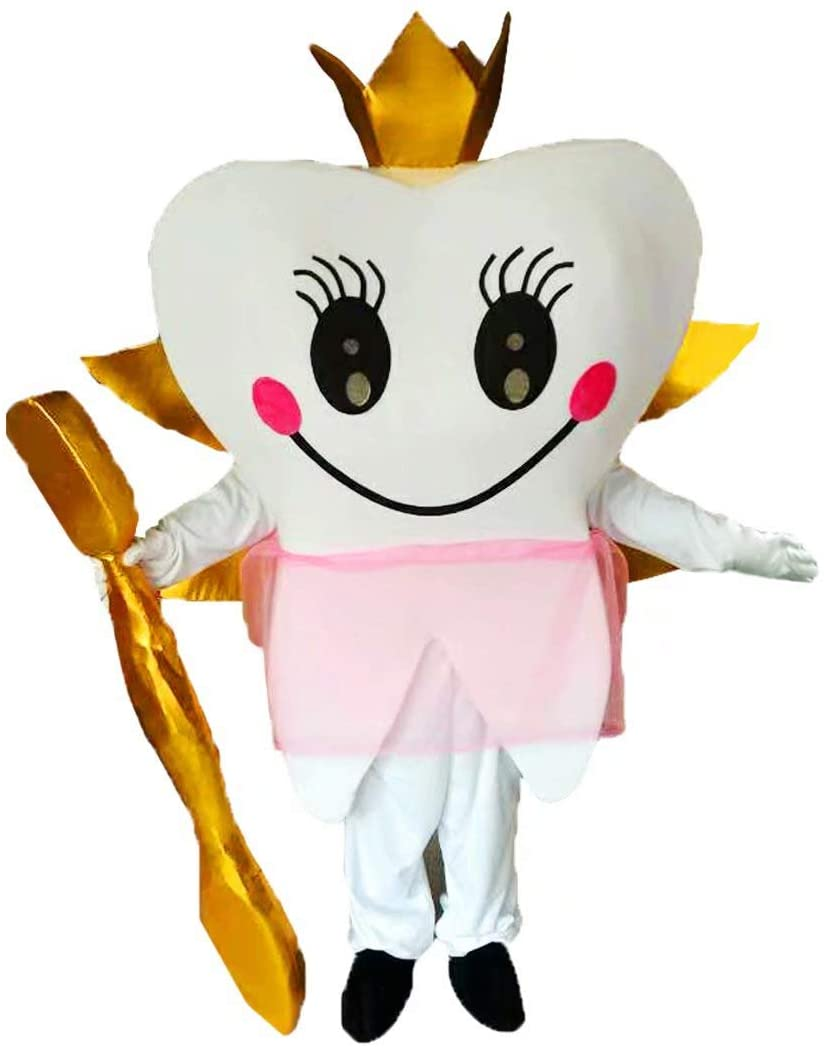 Teeth and Toothbrushes Cartoon Costume Mascot Plush with Mask for Adult Cosplay Party Halloween Dress Up
