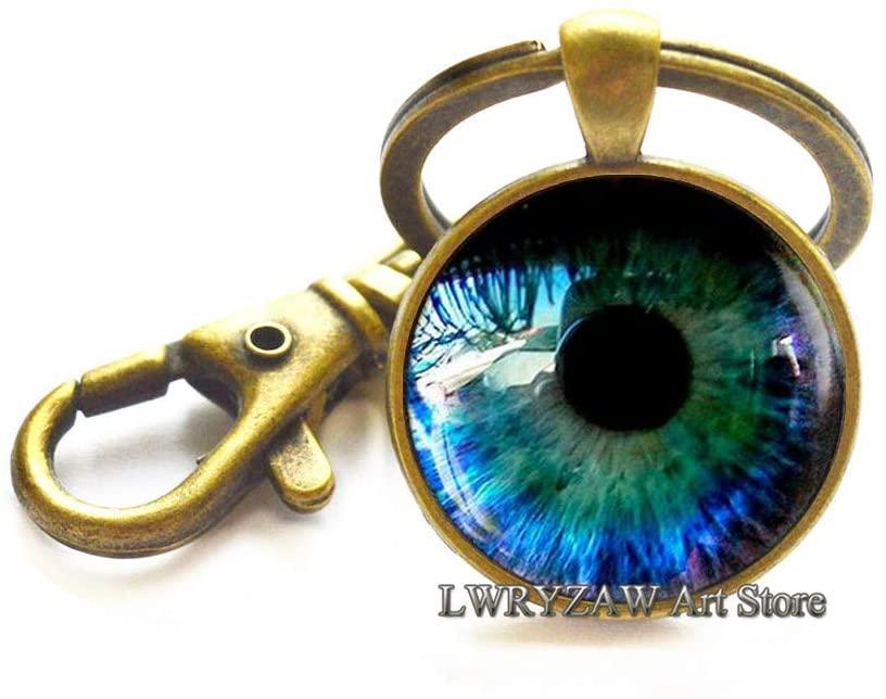 Eye Keychain, Eye Jewelry Glass Key Ring, Realistic Human Eyeball, Eye Steampunk Gothic Eye Charm, Anatomy Jewelry,M73
