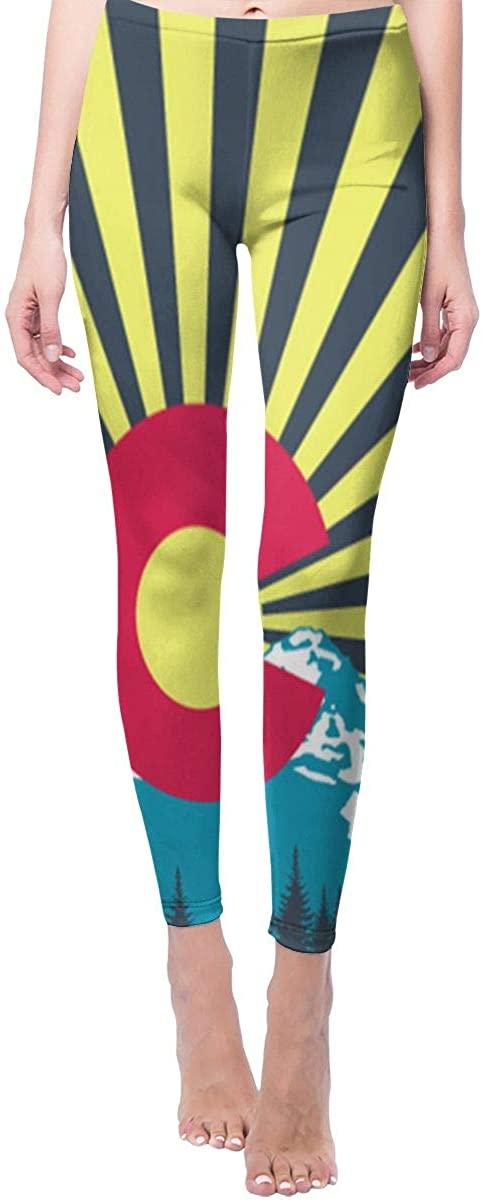 Ruin Yoga Pants Colorado Flag and Snow Mountain High Waist Skinny Leggings Sweatpants