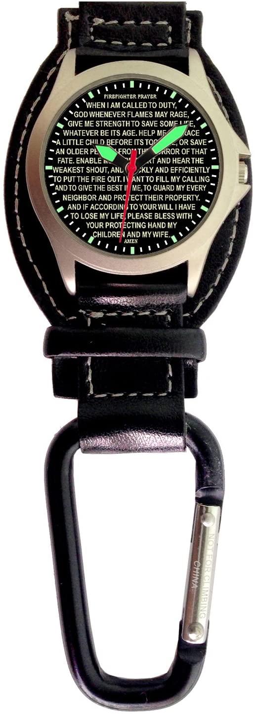 Aqua Force Firefighter Prayer Carabiner / Wrist Watch - 30m Water Resistant