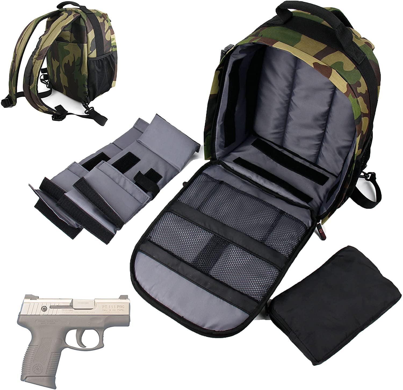DURAGADGET Taurus PT111 Millennium G2 Handgun Carry/Storage Bag - Premium Quality, Water-Resistant Camouflage Backpack with Customizable Interior & Raincover for Taurus PT111 Millennium G2 Pistol
