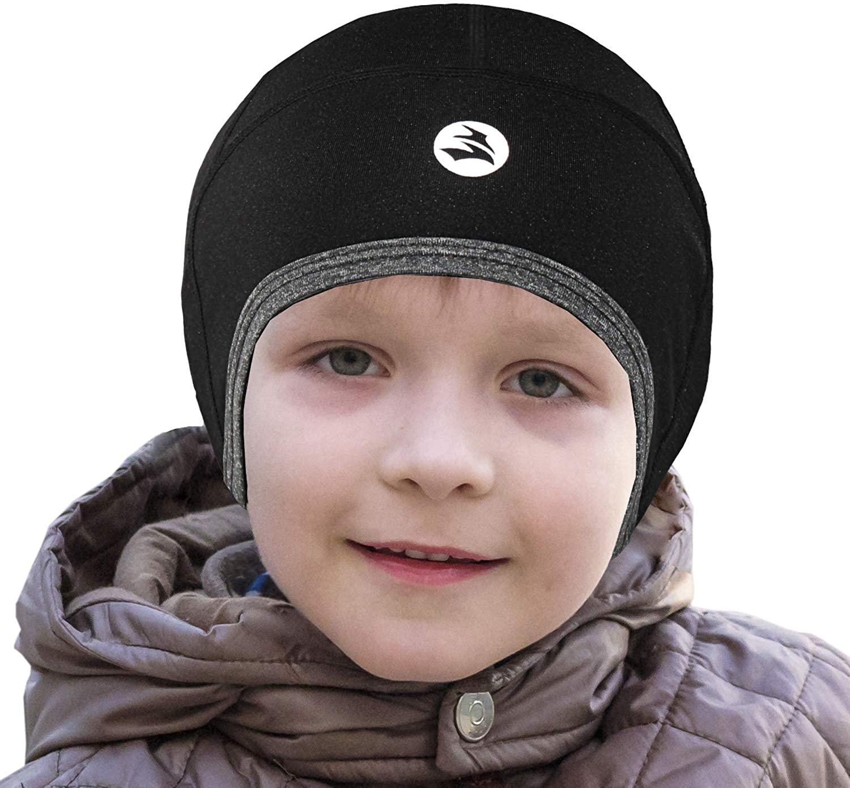 EMPIRELION Kids Thermal Helmet Liner Lightweight Teens Thin Skull caps Cover Ears Beanie Child Running Hats for Boy & Girl