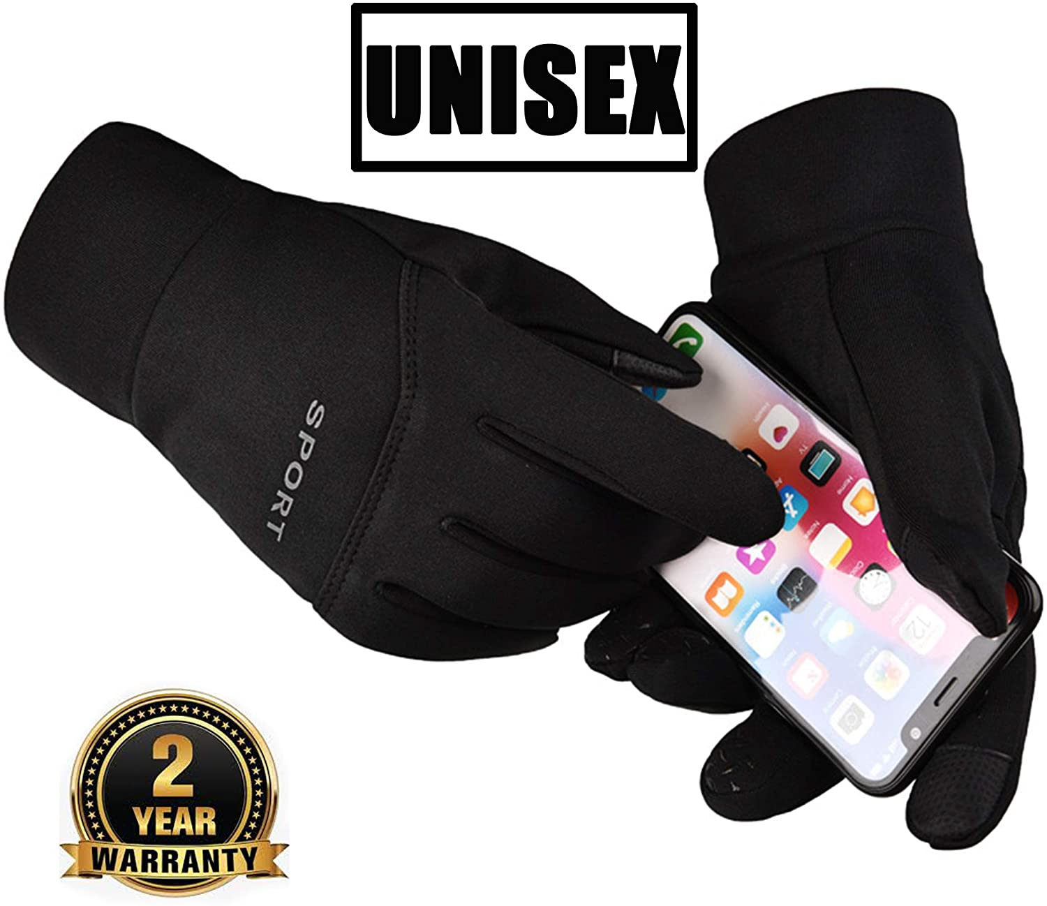 Family Rolls Running Gloves Lightweight Touch Screen Gloves Waterproof and Windproof Anti-Slip Warm Thermal Gloves for Men and Women(Black Large)