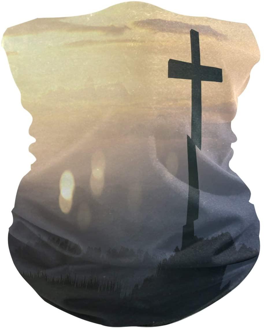 nobrand Black Cross Religion Symbol Face Mask UV Sun Mask Dust Wind Neck Gaiter Magic Bandana