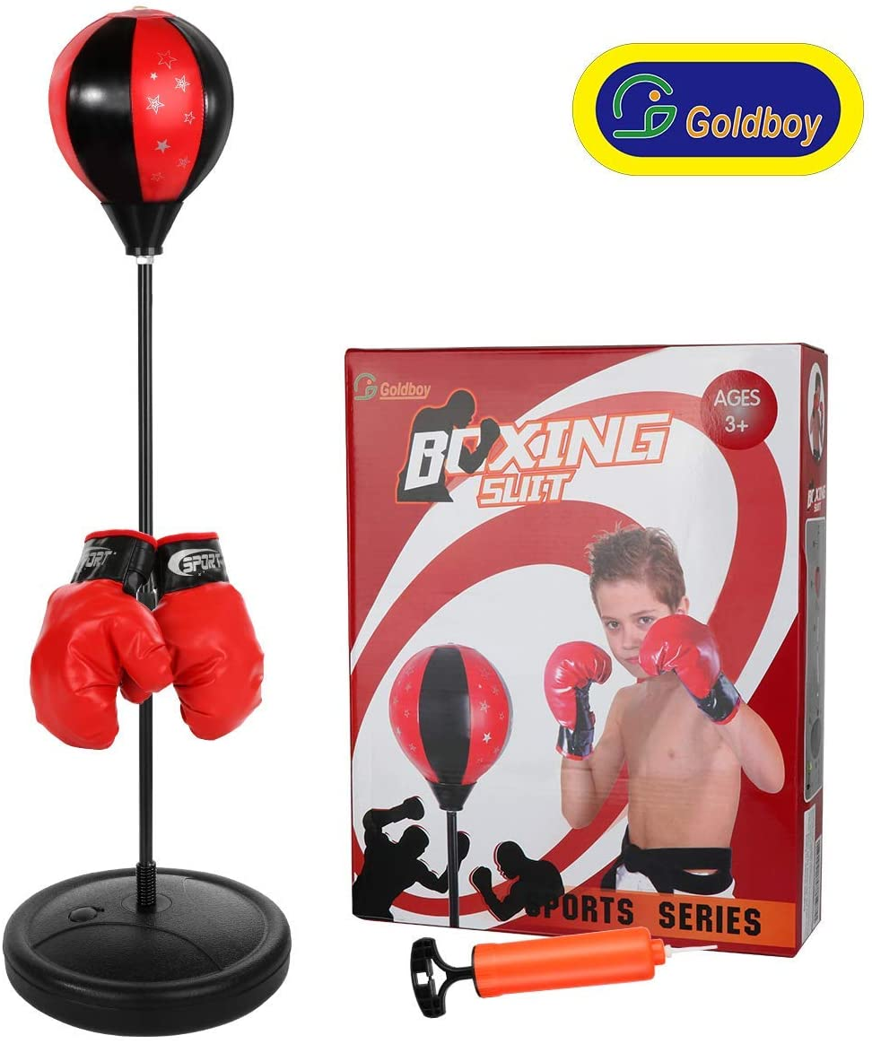Goldboy Punching Bag with Stand for Kids, Training Boxing Bag Set Adjustable Height 42 Inches, Boxing Toys for Boys and Girls Ages 3-10 Years Old (Renewed)