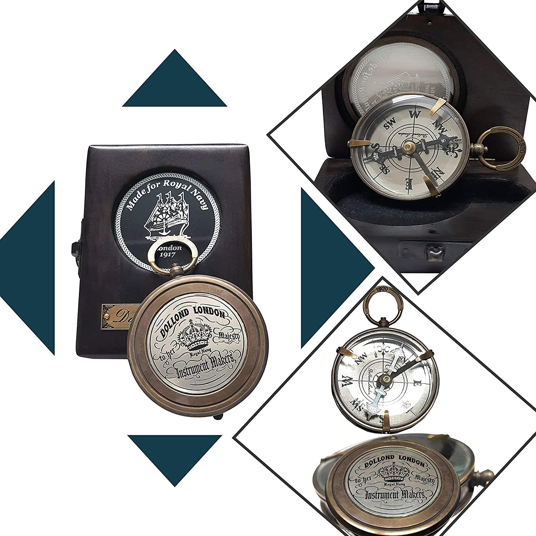 Dekor Mobiliya Antique Brass Navigation Vintage Style Brass Pocket Compass with Leather Case