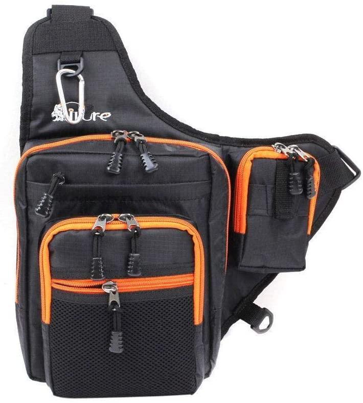 weizhang Waterproof Canvas Fishing Bag Large-Capacity Multi-Function Fishing Wheel Bait Backpack Fishing Bag Outdoor Shoulder Bag Black