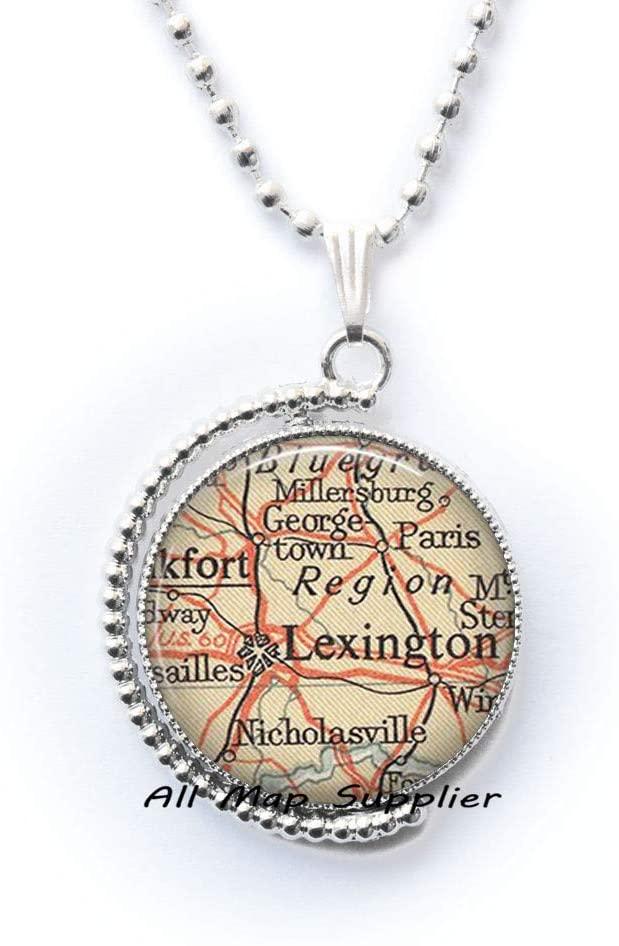 AllMapsupplier Fashion Necklace,Lexington,Kentucky map Necklace,Lexington Necklace,Lexington map Pendant,Lexington Pendant,A0226