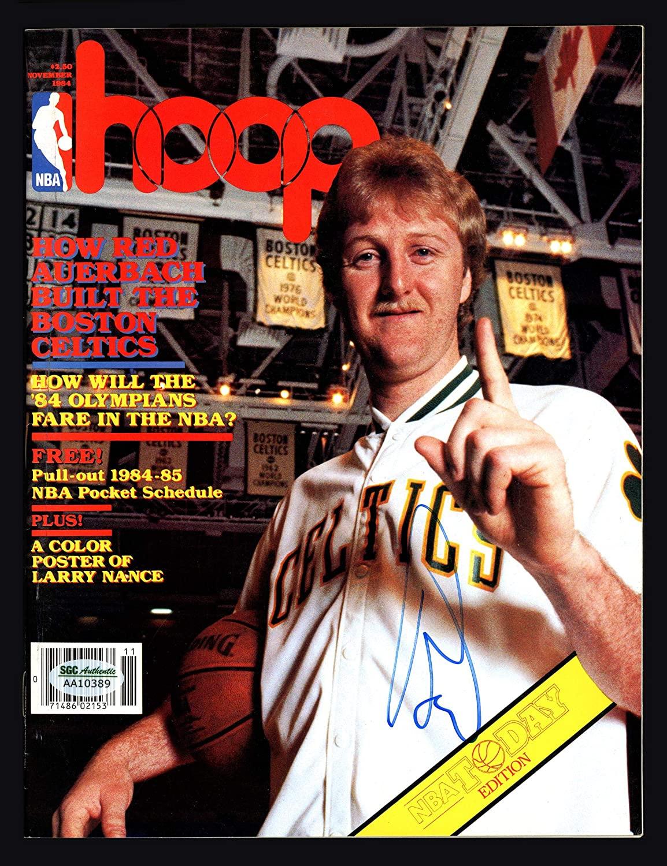 Larry Bird Autographed Hoop Magazine Boston Celtics No Label SGC #AA10389 - Autographed NBA Magazines