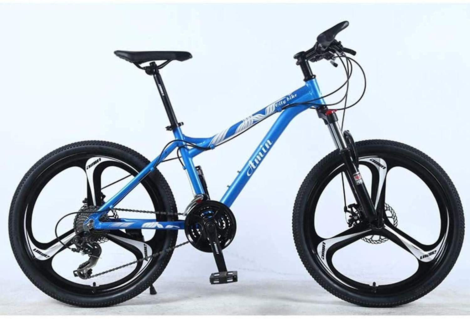 MJY 24In 21-Speed Mountain Bike for Adult,Aluminum Alloy Full Frame,Front Suspension Female Off-Road Student Shifting Adult Bicycle, Disc Brake 6-20,C
