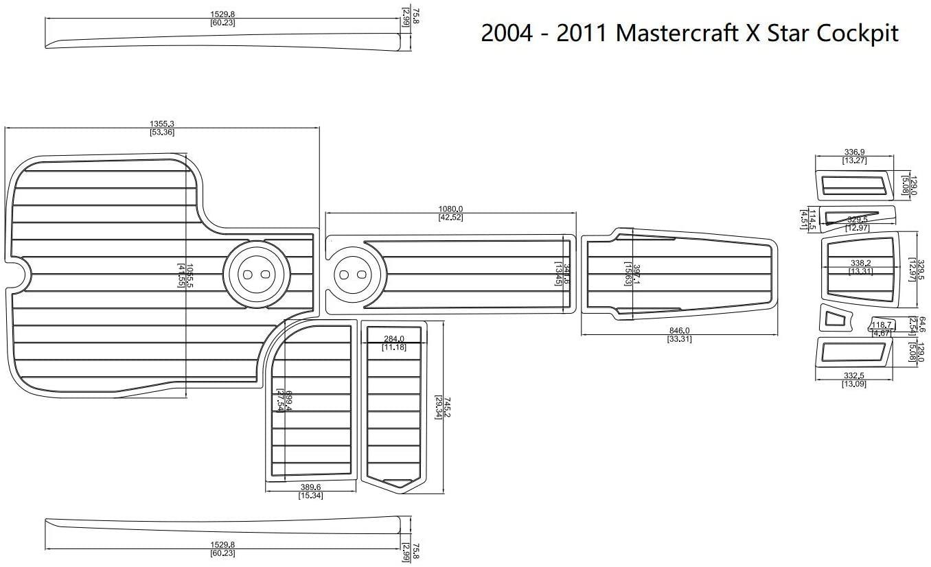 JW 2004-2011 Mastercraft X Star Cockpit Boat EVA Teak Decking 1/4