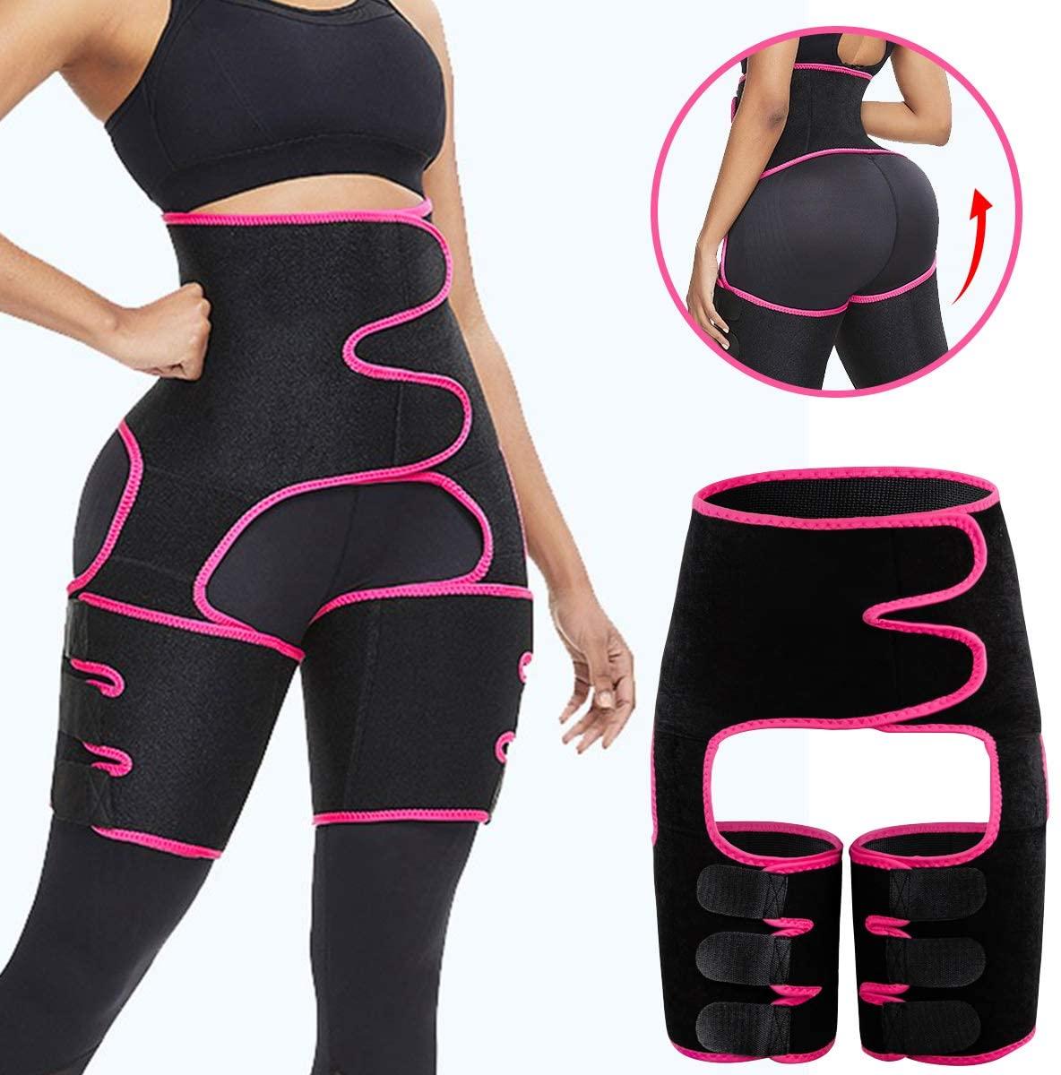 MEILYLA Waist Trainer 3-in-1 Thigh Trimmer for Women High Waist Body Shaper Sliming Support Belt Weight Butt Lifter for Sport Fitness Training Exercise