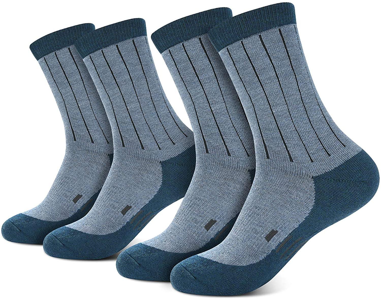 NBPOW Thermal Warm Wool Socks 2 Pairs for Winter, Hiking, Trekking, Crew Socks for Men & Women