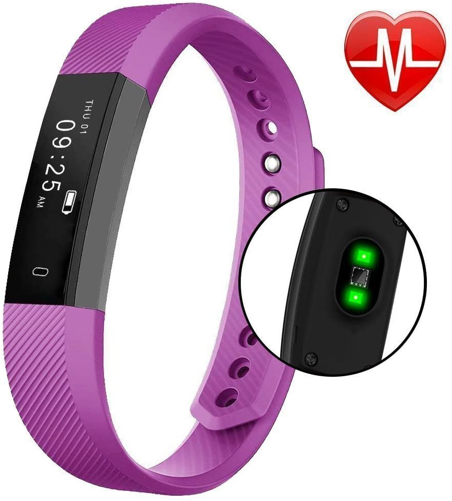 Heart Rate Fitness Tracker - Mini Kitty Smart Wristband 0.86 OLED Touch Screen Sleep Monitor for Android iOS Phone (Purple)
