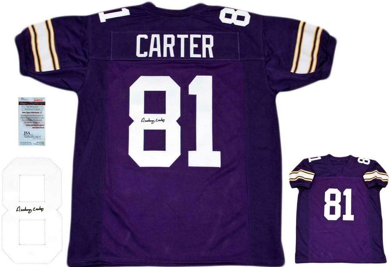 Anthony Carter (NFL) Autographed Jersey - Purple Witnessed - JSA Certified - Autographed NFL Jerseys