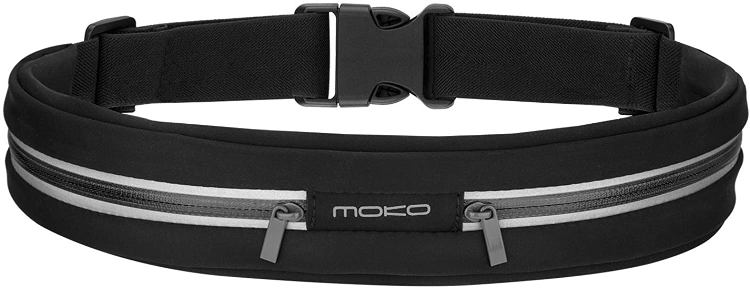 MoKo Sports Running Belt, Dual Pouch Expandable Sweatproof Reflective Waist Pack, Fitness Workout Running Phone Holder Compatible with iPhone 11 Pro Max/Xr/Xs Max/8/7, Galaxy Note 10 Plus, S20/S10