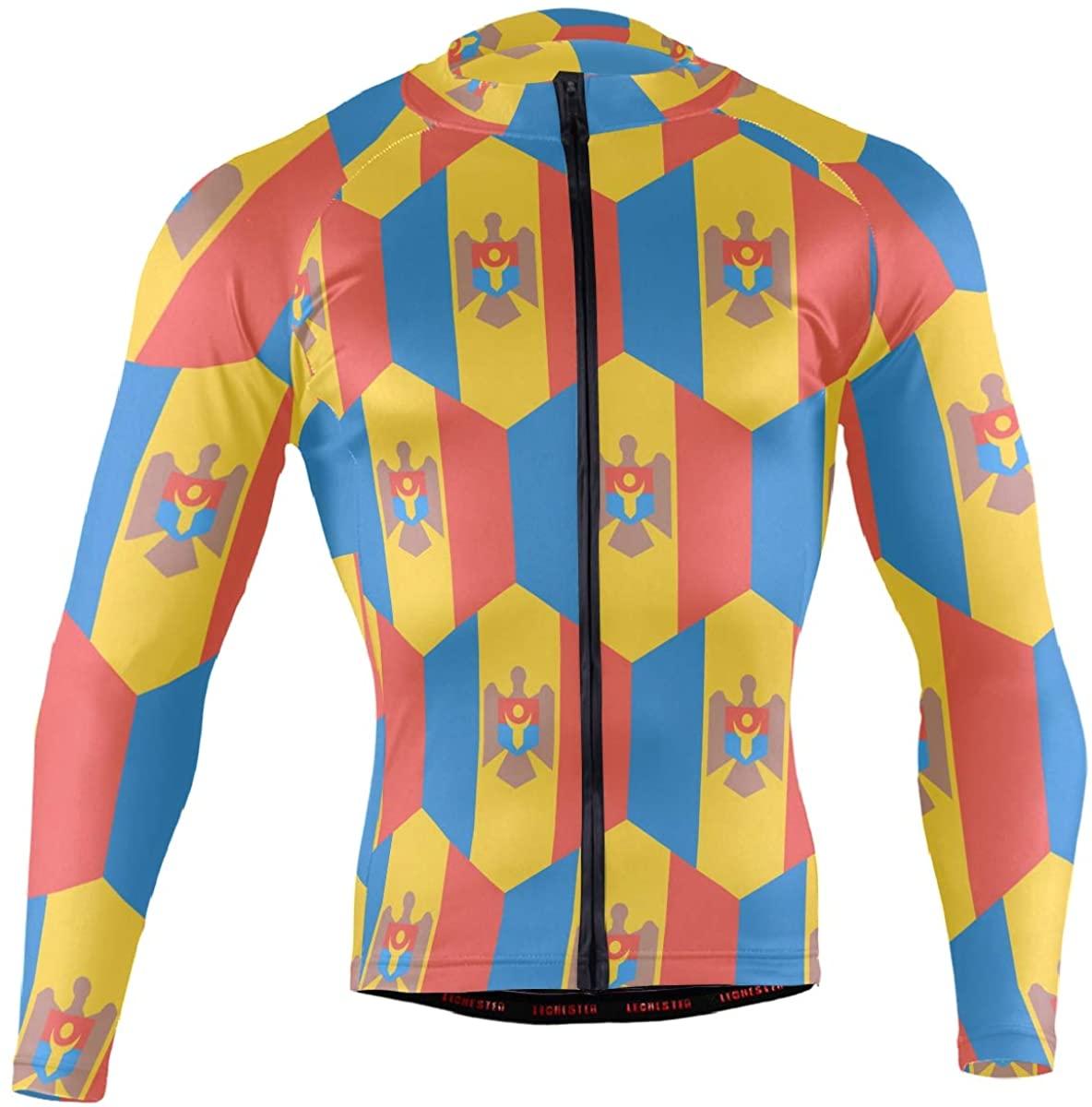 Moldova Flag Men's Long Sleeve Cycling Jersey Bicycle Jacket Pockets Full Zipper Bike Biking Shirts