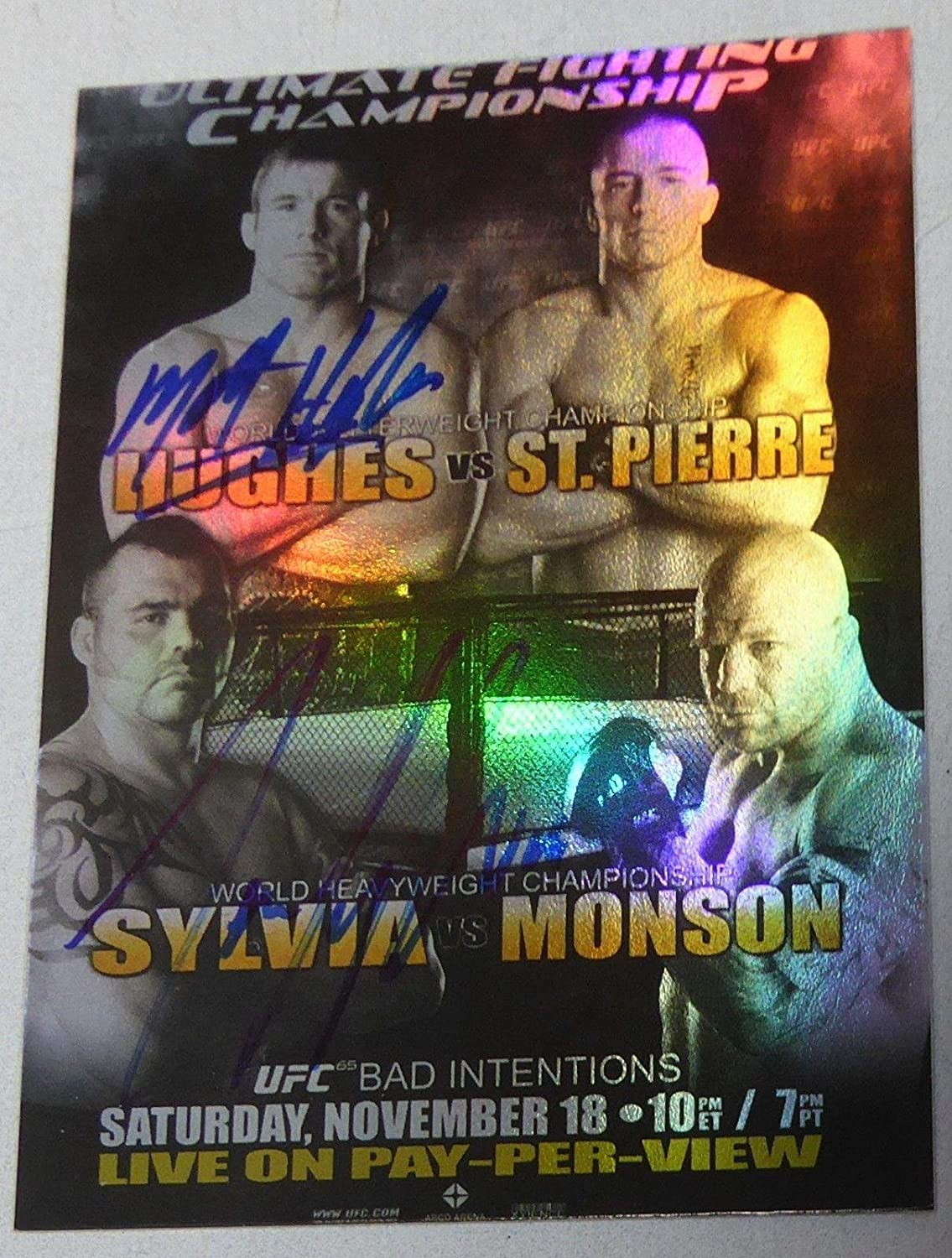Matt Hughes & Tim Sylvia Signed UFC 65 2010 Topps Fight Poster Card Autograph - Autographed UFC Event Poster