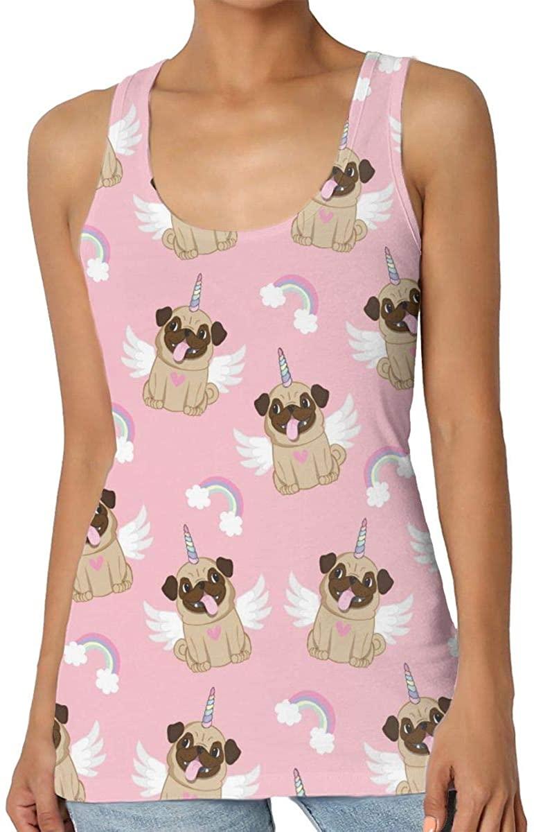 Women's Tank Top Unicorn Pug 3D Printed Sleeveless Racerback Vest Shirts