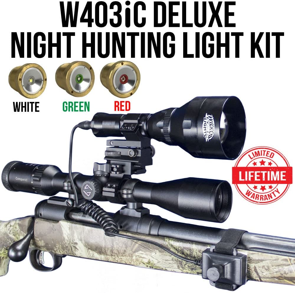 Wicked Lights W403iC Deluxe Night Hunting Kit with Green, Red, and White Intensity Control LED's for Predator, varmint & Hog Complete 3 led Light kit