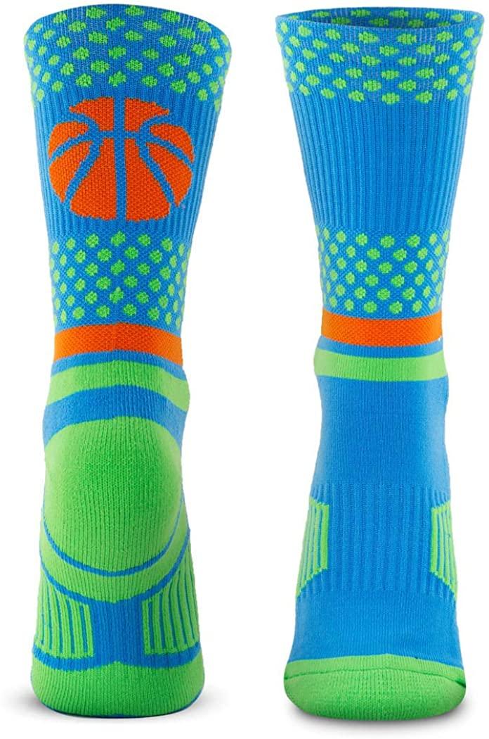 Basketball Woven Mid-Calf Socks | Bball Dots | Blue & Green