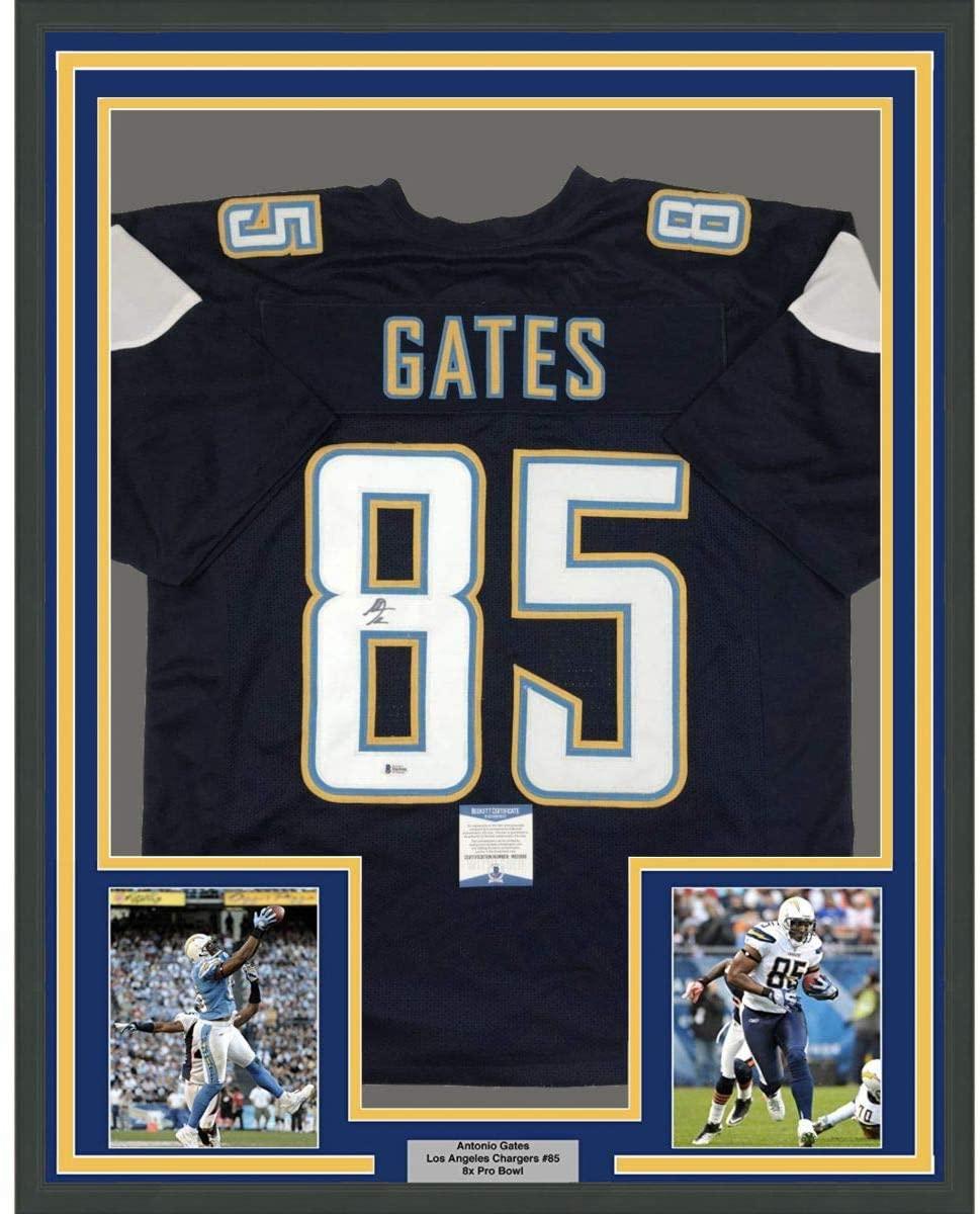 Framed Autographed/Signed Antonio Gates 33x42 Los Angeles LA Dark Blue Football Jersey Beckett BAS COA