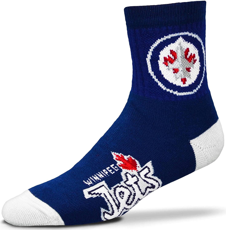 For Bare Feet Men's NHL Quarter Socks-Winnipeg Jets-Large(10-13)