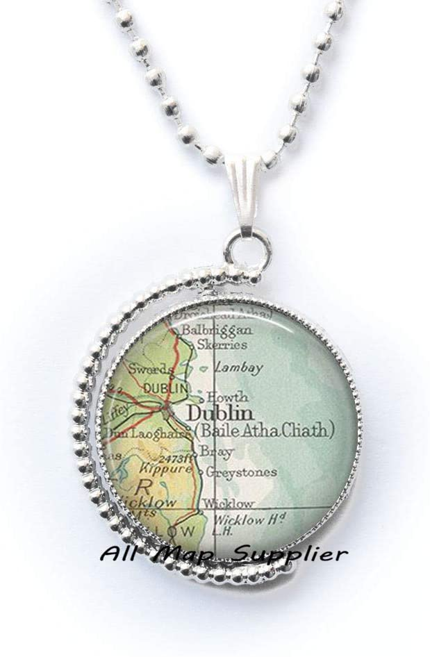 AllMapsupplier Fashion Necklace,Dublin map Necklace,Dublin map Pendant,Dublin Necklace,Dublin Pendant,Dublin Ireland map Jewelry,A0217