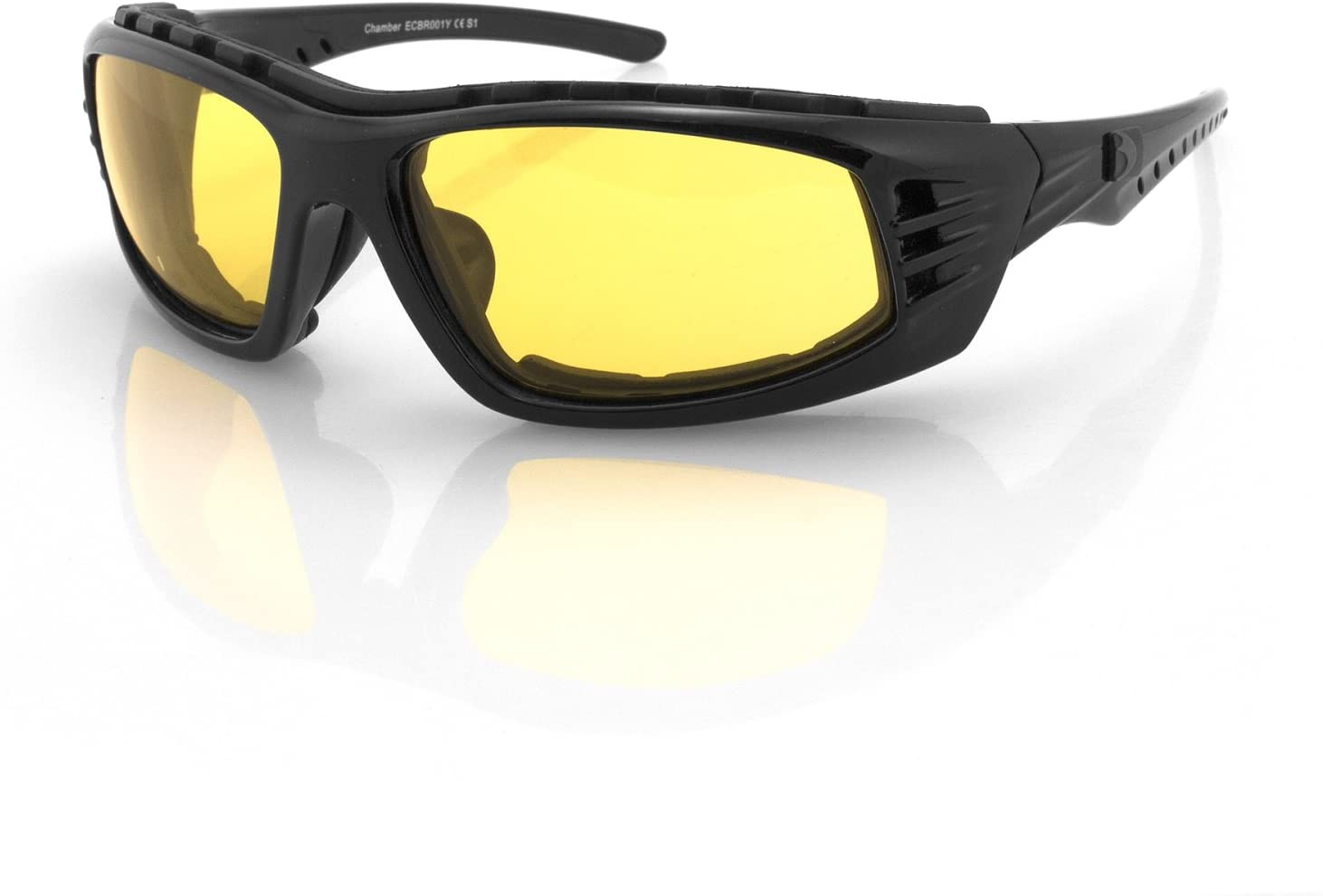 Bobster Chamber Sunglasses with Black Frame and Clear Reflective Lens, Black Gloss