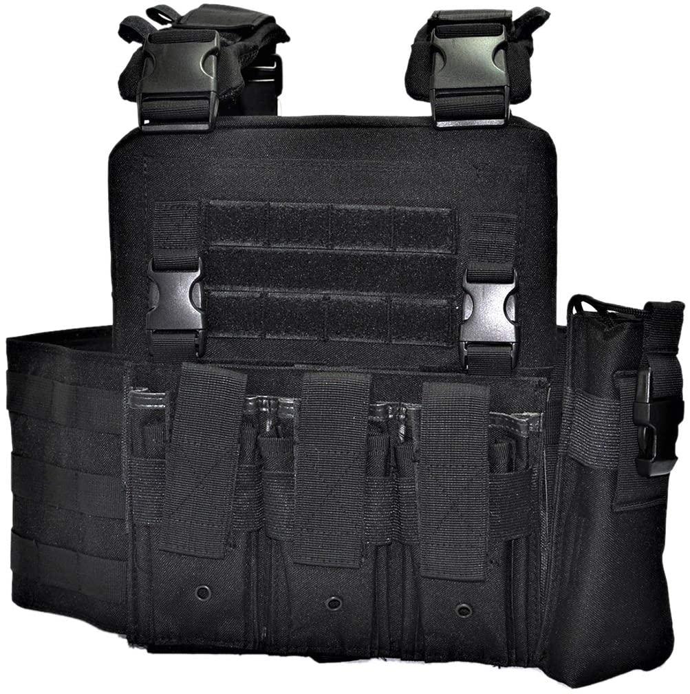 Adjustable Molle Waistcoat Tactical Military Vest Combat Assault Vest - CP Police Black
