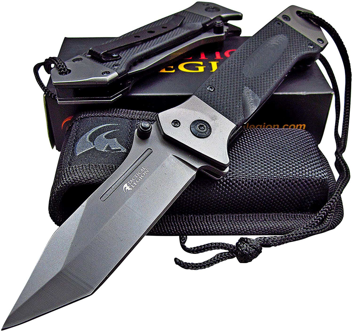 Tactical Legion Heavy Duty Folding Pocket Knife with Sheath: Fast One Hand Opening, 8Cr13MoV Razor Sharp Blade, Great for Outdoor Work Survival Camping Hiking Hunting