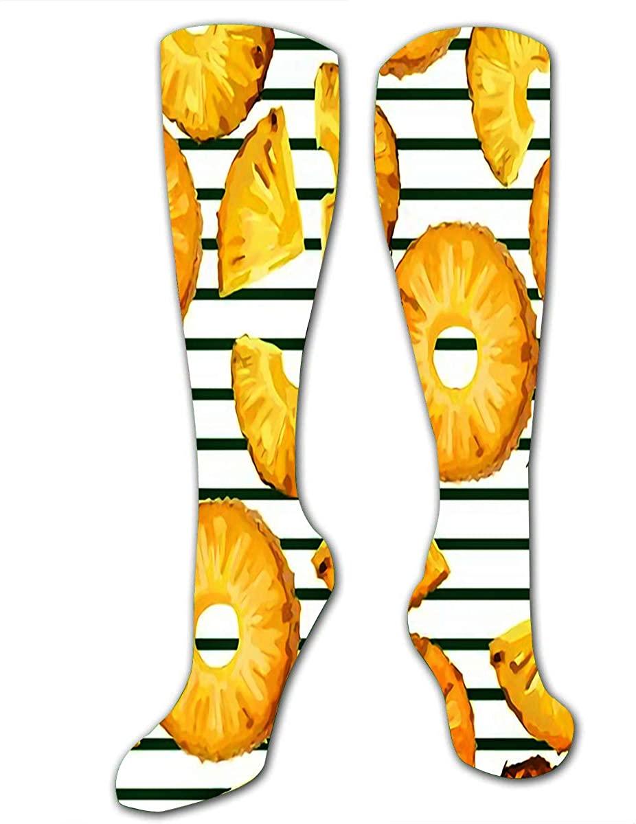 Running Socks For Men Women Pinapple Slices On The Green Stripe Compression Sock