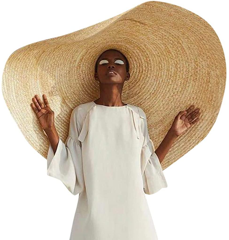 Fashion Oversized Straw Hat - Large Brim Sun Hat Beach Cap Big Foldable Floppy Sunshade Hats for Women Girls Travel