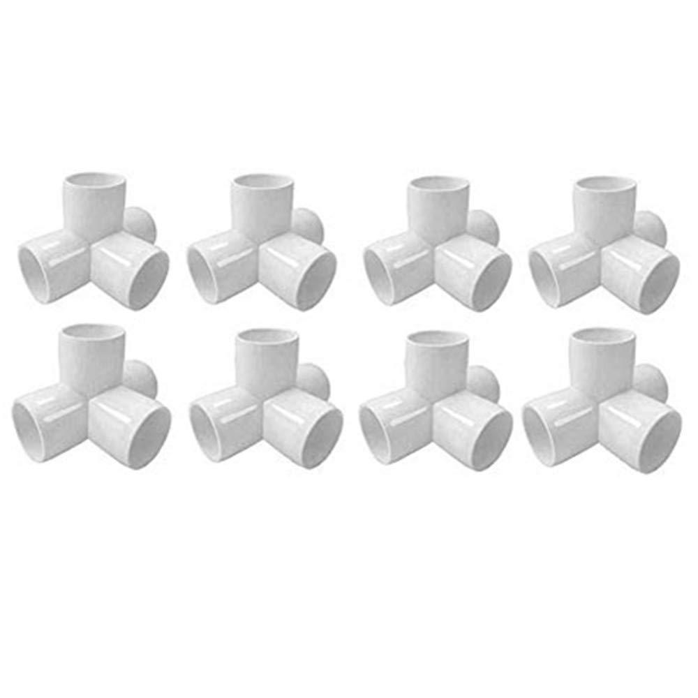 Sasonco PVC Corner Fitting Tee Pipe Fittings PVC Elbow Corner Side Outlet Tee Fitting PVC Three Quarter Elbow Fittings (4 Way 1/2