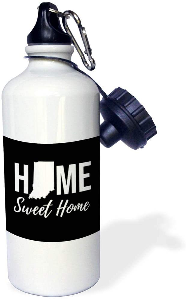 3dRose Stamp City - Typography - Home Sweet Home. Indiana State. Black Background. - 21 oz Sports Water Bottle (wb_323986_1)