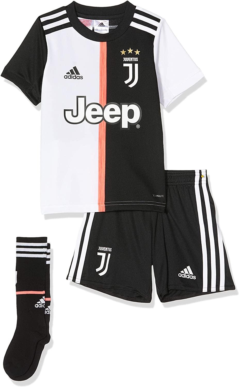 adidas Juventus 2019/20 Kids Junior Mini Home Serie A Football Kit Black/White