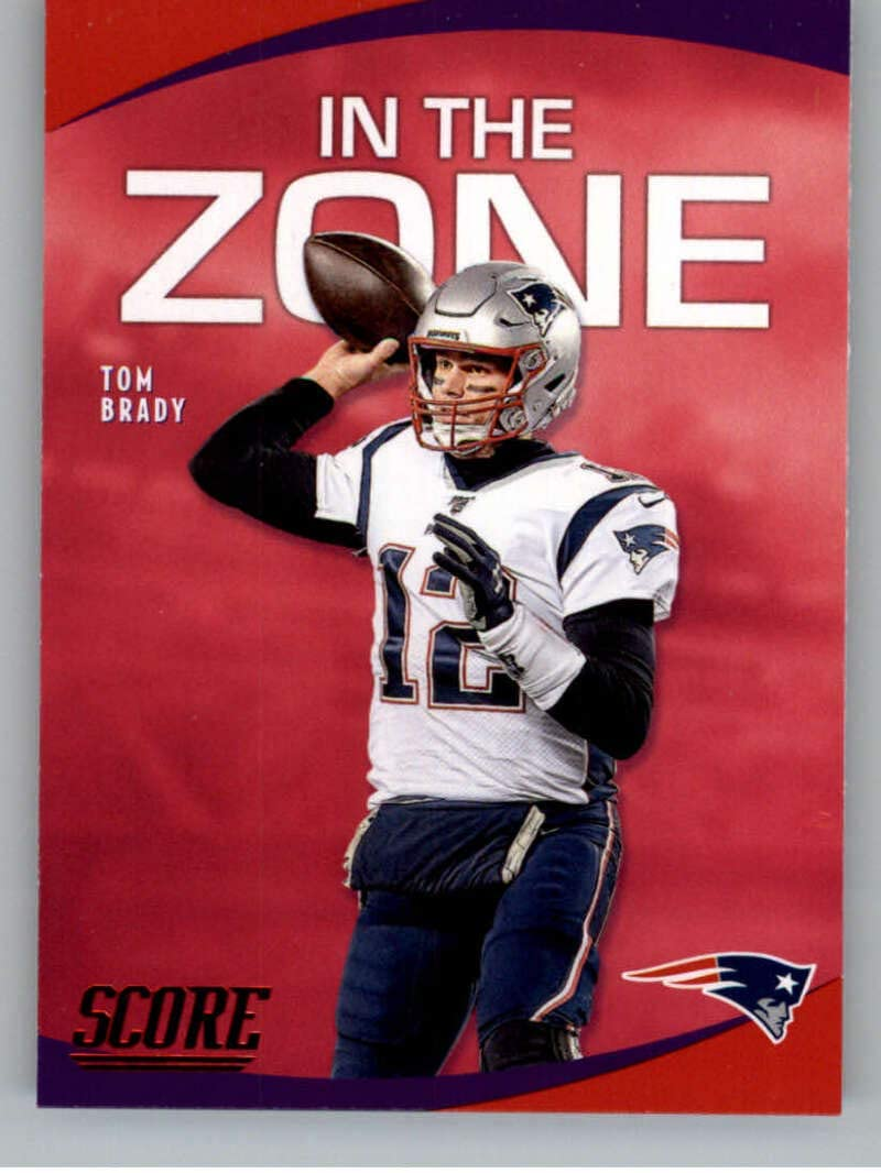 2020 Score In the Zone Red Football #4 Tom Brady New England Patriots Official Retail Only Red NFL Parallel Trading Card From Panini America