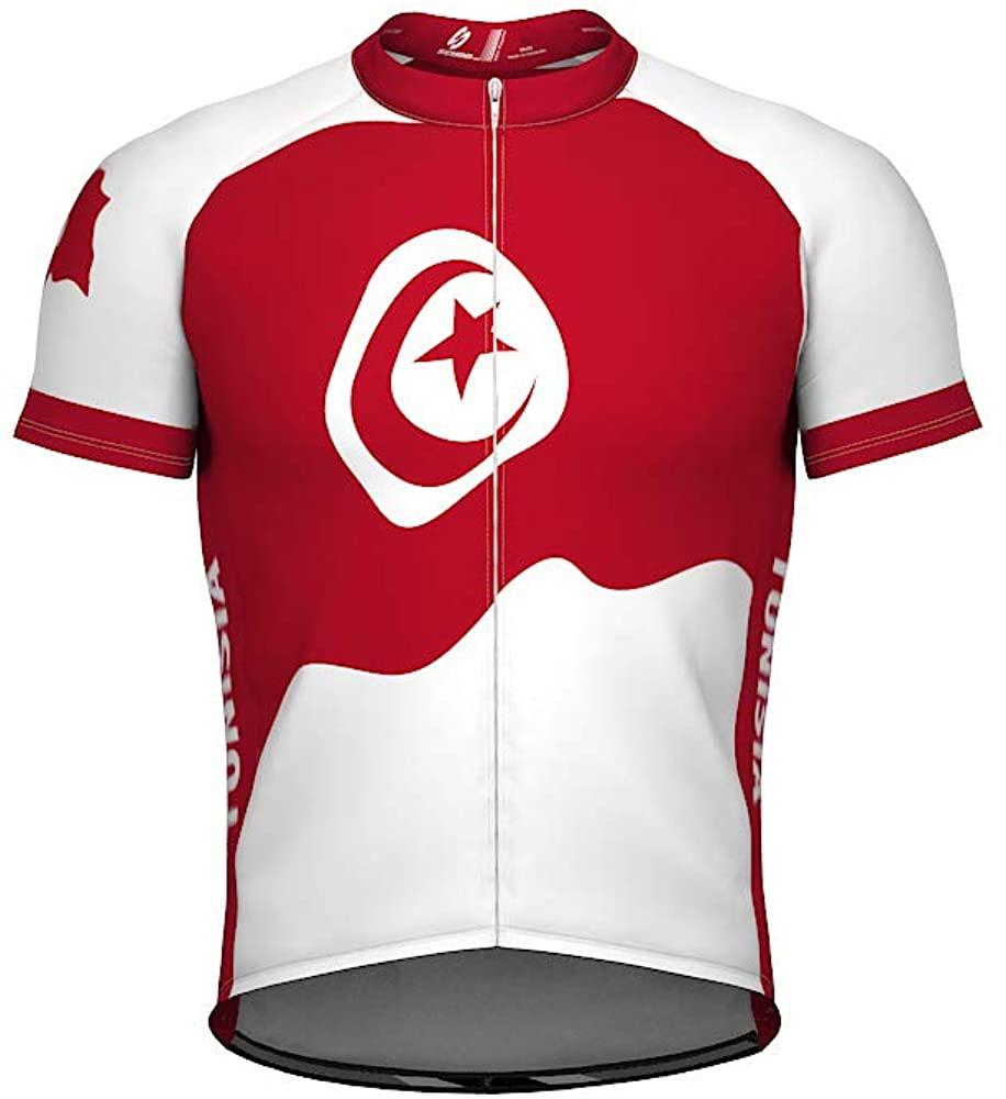 ScudoPro Tunisia Emblem Full Zipper Bike Short Sleeve Cycling Jersey for Men