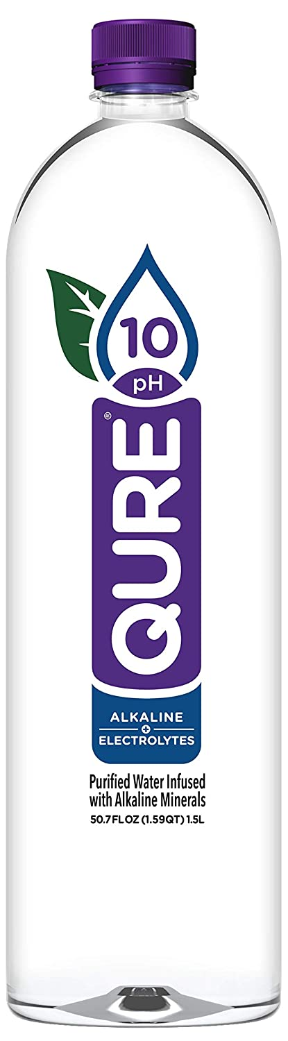 QURE Water, Premium 10 pH Ionized Alkaline Bottled Water, Silky Smooth Taste Infused with Electrolytes, 50.7 fl oz (1.5 Liter) Pack of 12