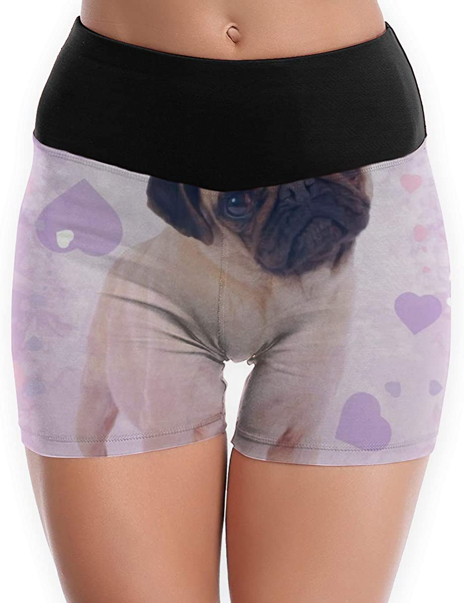 CHEERPEACETIME Womens Yoga Shorts Pants Pug Dog Heart High Waist Tummy Control Running Leggings
