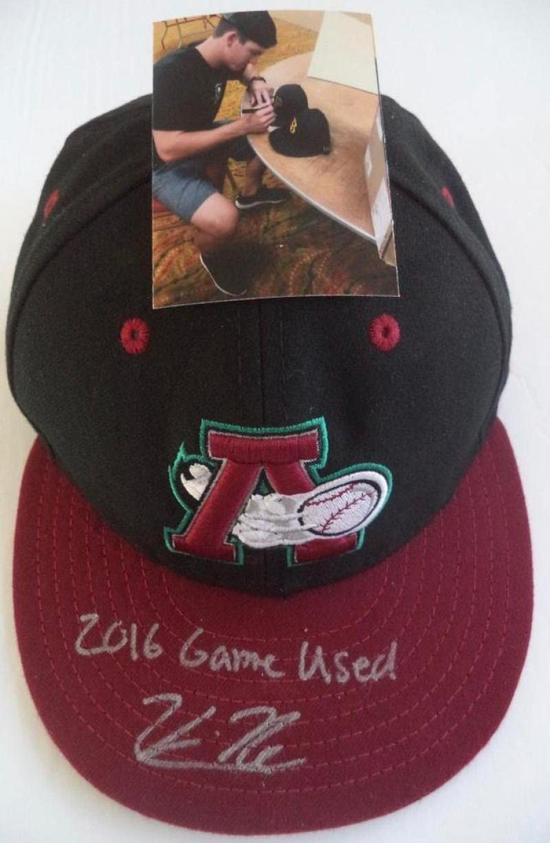 KEVIN NEWMAN SIGNED 2016 GAME USED ALTOONA CURVE CAP W/PHOTO PROOF PIRATES A