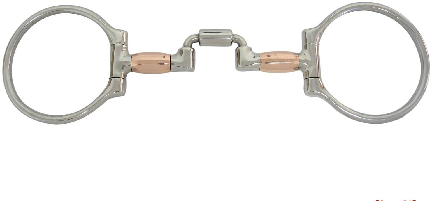 AJ Tack Wholesale Offset Racing Dee Ring Horse Bit Hinged Correction Mouth Copper Barrels