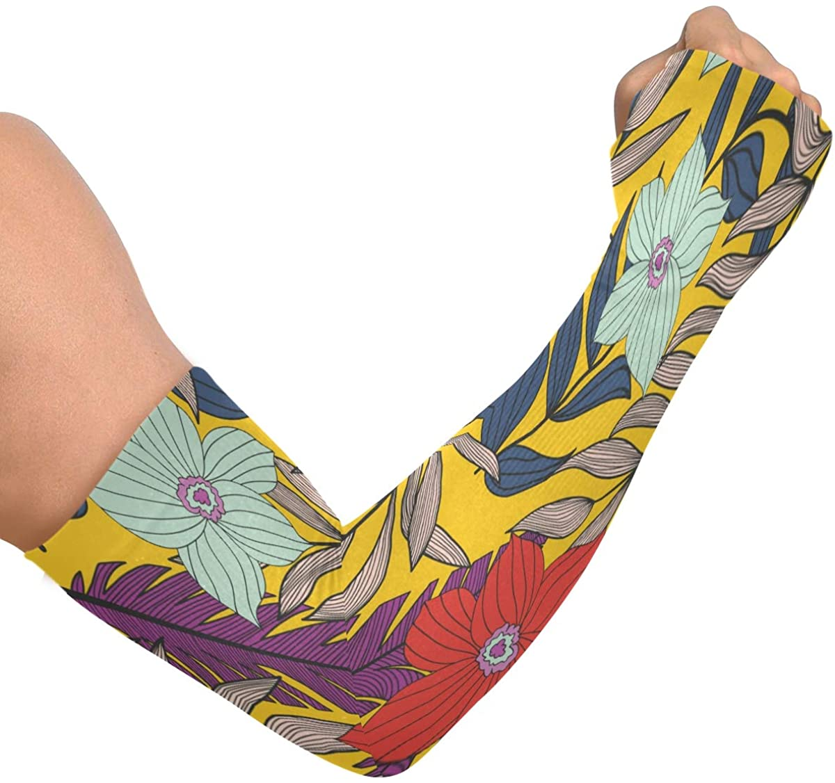 Cooling Arm Sleeves Anti-Slip Colorful Tropical Leaves Cooling Sleeves for Men Women Running Golf Cycling