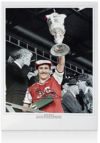Kenny Sansom Signed Arsenal Photo - League Cup Trophy Autograph - Soccer Autographed Miscellaneous Items