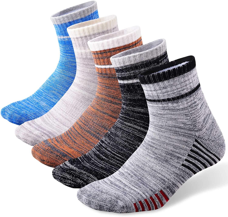 FEIDEER Men's Walking Hiking Socks, Wicking Cushion Quarter Crew Socks for Mens Outdoor Sports, 3/4/5 Pair, 6-15 Size