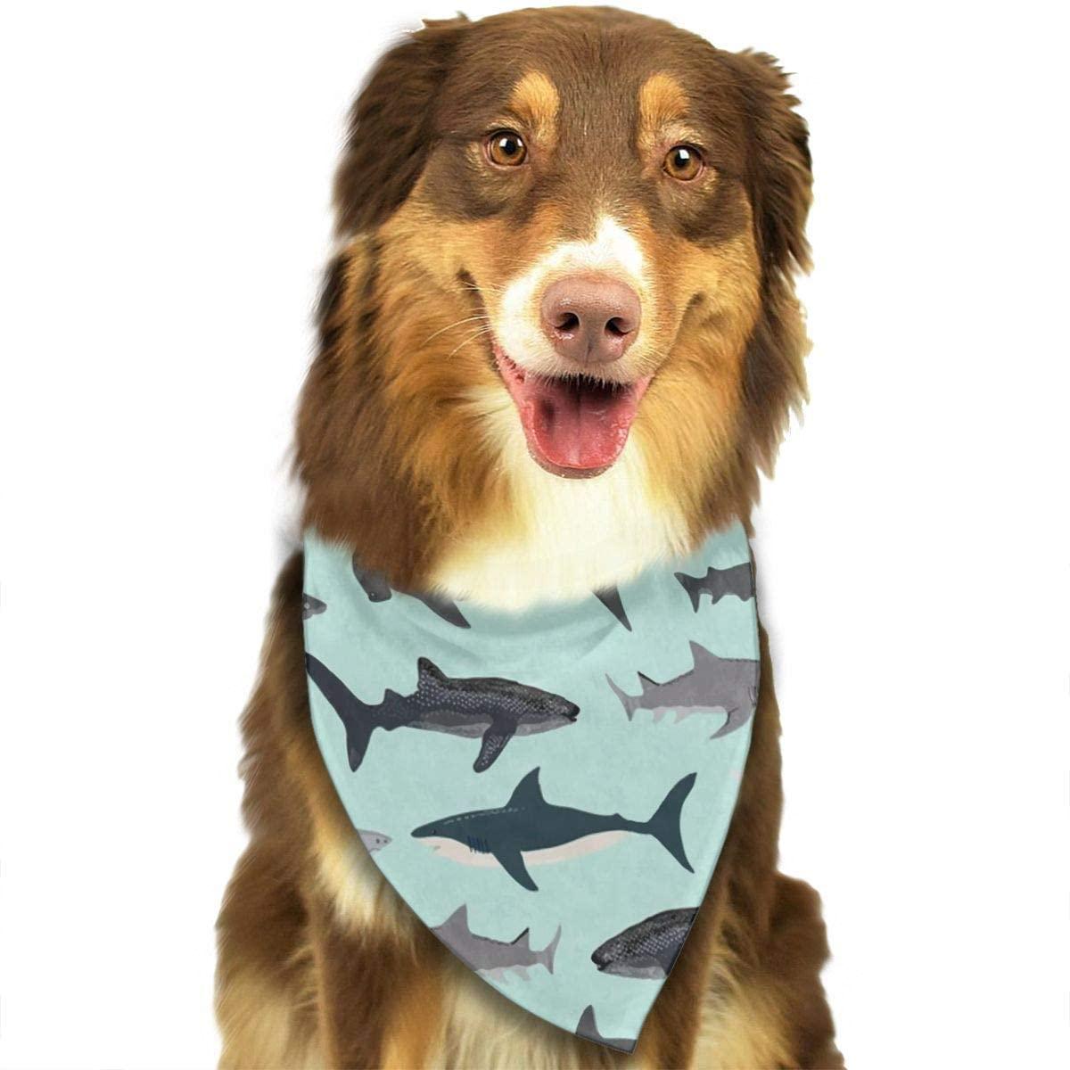 CHAN03 Dogs Bandana Collars Shark Pets Triangle Neckerchief Puppy Bibs Scarfs Cats Scarfs Towel