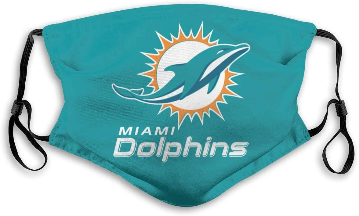 Miami Dolphins Dust Washable Reusable Filter and Reusable Mouth Warm Windproof Cotton Face